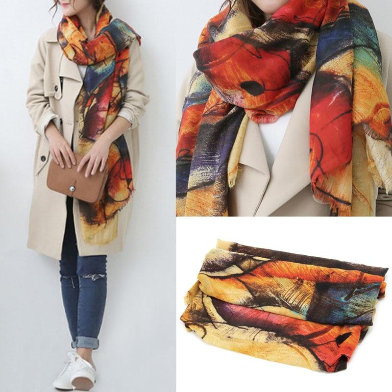 1pcs Womens Graffiti Scarves Long Wraps Shawl Imitation Cashmere Autumn Winter Scarf