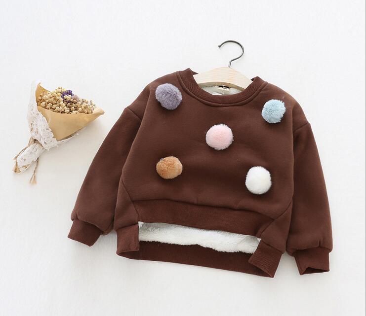 New2016 Girls and Boys Cute Cartoon Faux Fur Ball Cotton Cashmere Thicken Warm O-Neck Long Sleeve Hoodies Sweatshirts Coats Tops