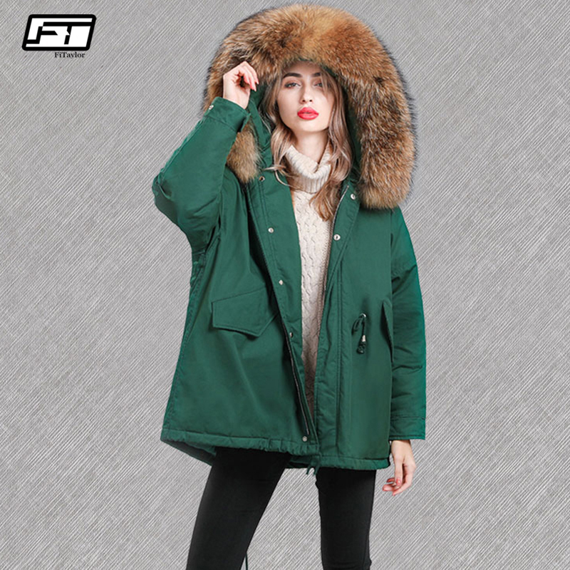 Fitaylor Women Large Natural Raccoon Fur Jackets 90% White Duck Down Parkas Winter Loose Hooded Jacket Female Snow Outwear Coat
