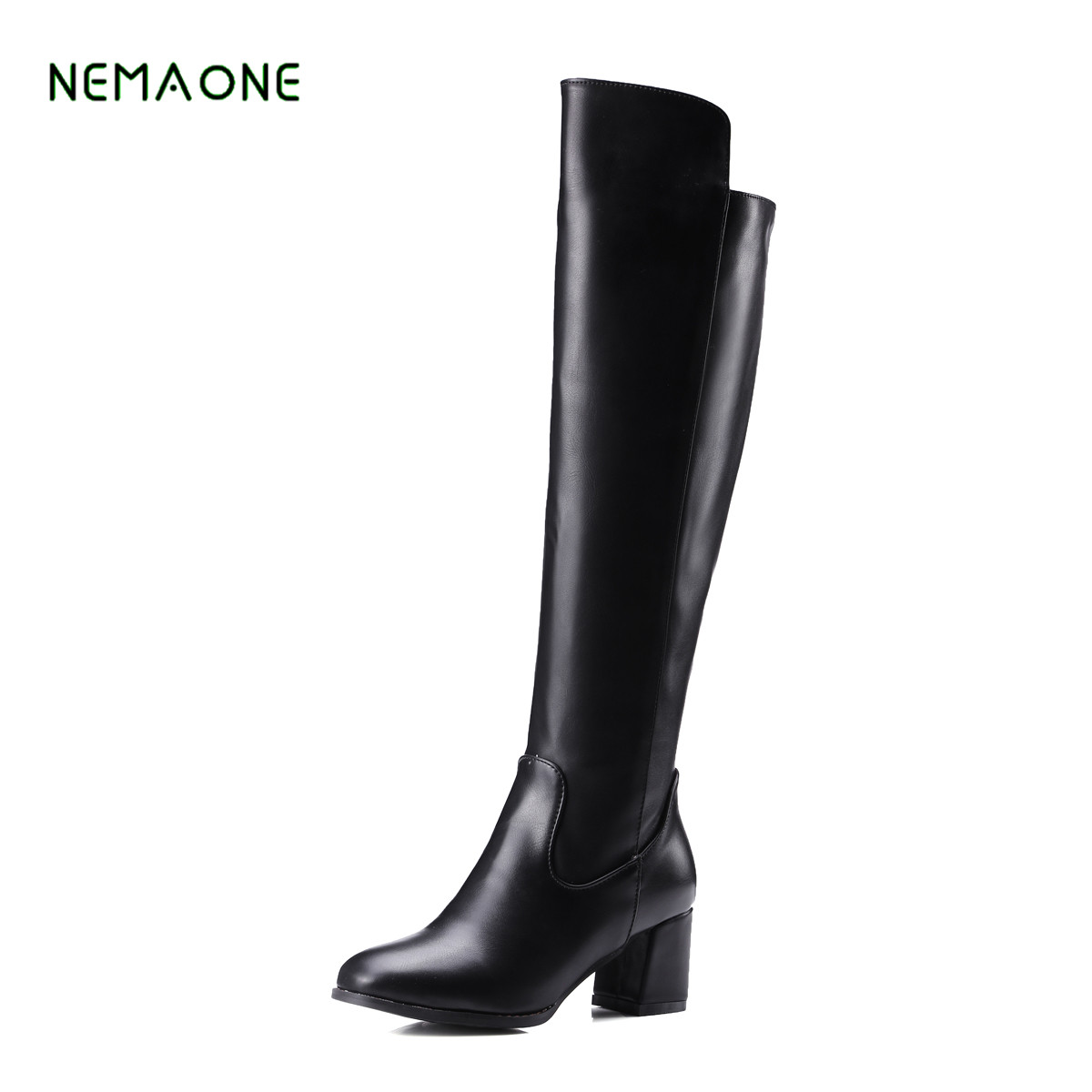 NEMAONE 2017 NEW Women Winter Thigh Boots Thick High Heel Over The Knee Boots Zip Rivet Shoes Woman Khaki Black qiu dong in fashionable boots sexy and comfortable women s shoes the new national style high heel heel thick heel