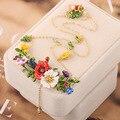 Les Nereides Esmalte Flores de Amapola de Oro Anillo Collar Pendientes Pulseras hermosas Sistemas de La Joyería Para Las Mujeres Accesorios