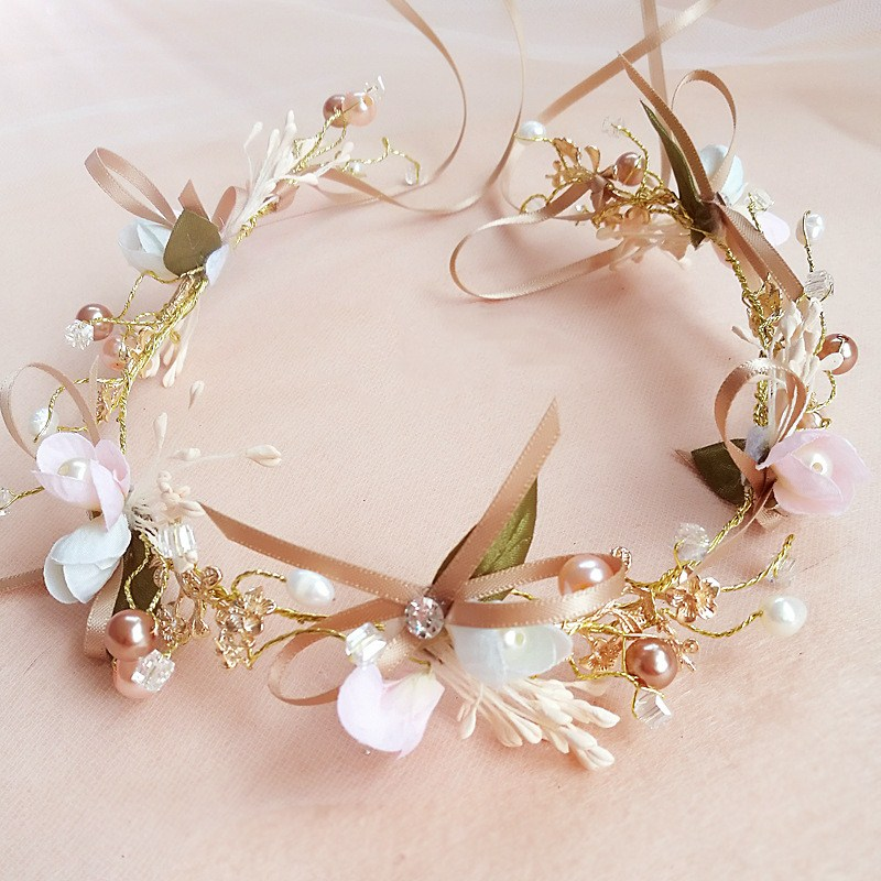 Wedding Floral Crown Rose Gold Head Wreath Hairband Bridal Hair