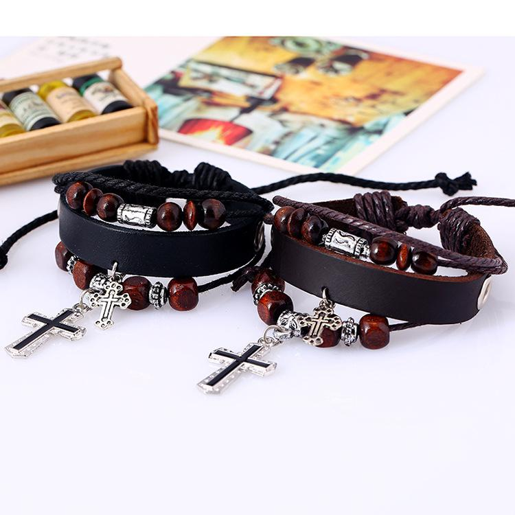 DreamBell Unique Wrap Retro Multi Circle Unisex Cross Beaded Leather Chain Genuine Leather Creative Bracelet