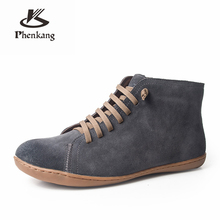 Men winter Boots Genuine leather cow suede casual ankle shoes Comfortable quality soft handmade lady flat Shoes black brown 2019 men winter boots 100% genuine cow leather brogue shoes casual ankle shoes comfortable quality soft handmade flat shoes black red