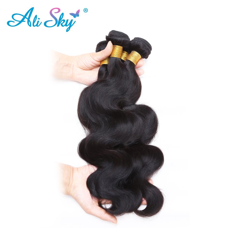 Ali Sky Brazilian Body Wave 360 Lace Frontal With Bundle Remy Human Hair 3 Bundles Lace Frontal Closure Pre Plucked&baby Hair Human Hair Weaves Hair Extensions & Wigs