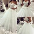 Luxurious Ball Gown Long wedding Dress 2017 New Vestido De Novia Sweetheart Neck Sleeves Sheer Tulle Appliques Bridal Gowns