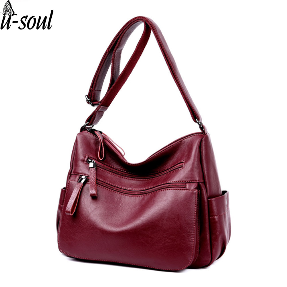 Women Leather Handbags Solid Color Double Zipper Women Shoulder Bag Luxury Brand Ladies Shoulder Bag Design Hobos Bag A3343 punk style solid color and rivets design women s shoulder bag