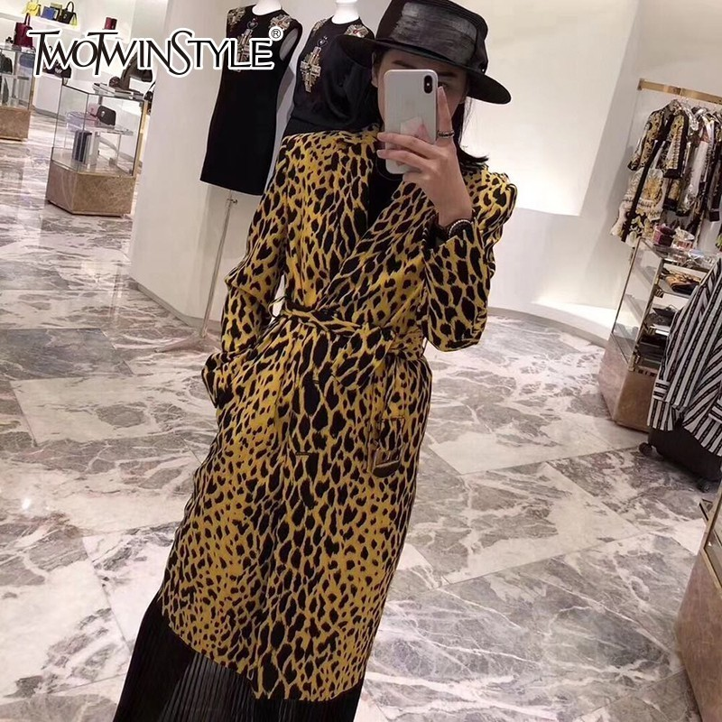 TWOTWINSTYLE Leopard Women's Windbreaker Lapel Long Sleeve Single Breasted High Waist Slim   Trench   Coat Female Elegant Clothes
