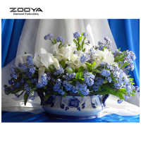 Blanco y azul flor DIY diamante bordado pintura de diamante Kit de punto de cruz decoración del hogar diamante redondo completo Floral CJ74