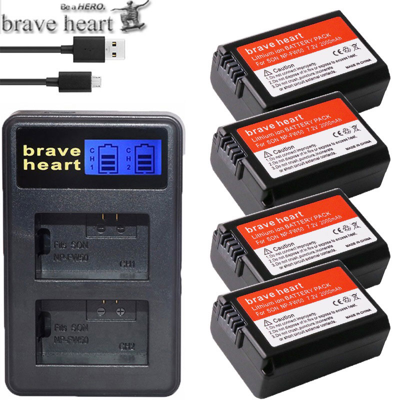 New NP-FW50 USB Dual Charger+4x NP FW50 Batteries For Sony NEX-5 NEX-7 SLT-A55 A33 A55 A37 A3000 A5000 A5100 A6000 A6300 A7000