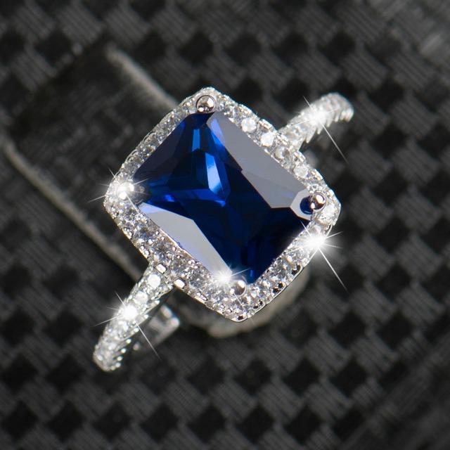 2CT Imitation Diamond 925 Silver Ring