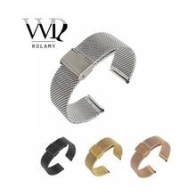 Купить с кэшбэком 18 20 22 24mm Silver Black Gold Rose Gold 2.8mm Thick Mesh Milanese Loop Steel Bracelet Wrist Watch Band For Smart Watch Rolex
