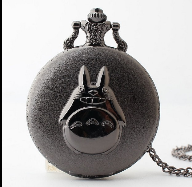 My Neighbor Totoro Japanese Anime Cartoons Black Roman Numerals Necklace Pocket Watches Gift