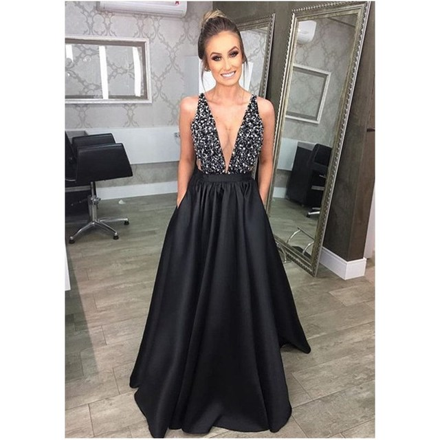 330d85cba94 New Sexy Deep V Neck Backless Long Dress Women Elegant Black Sleeveless  Sequins Night Party Floor Length Dress Ball Gown Dress-in Dresses from  Women's ...