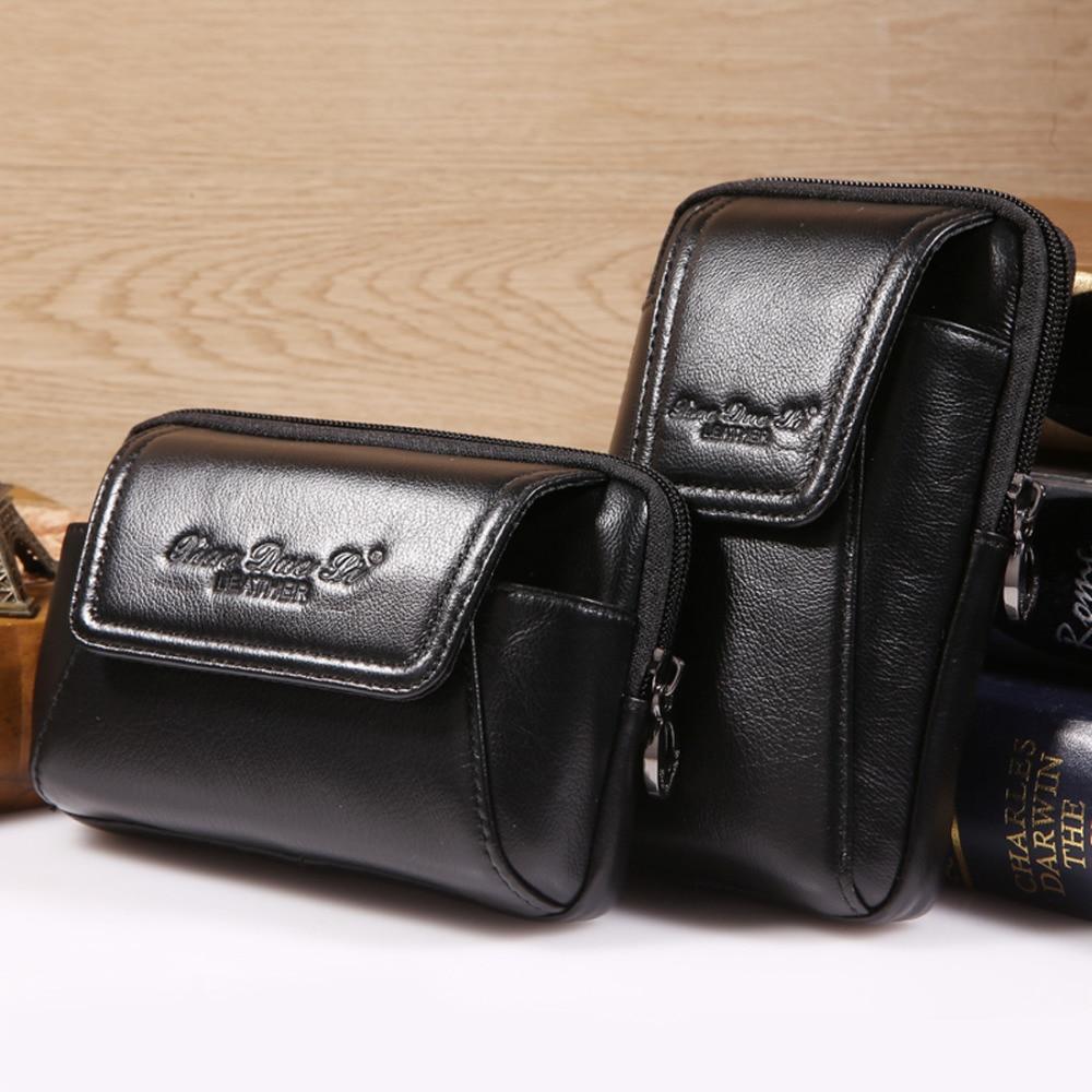 Мъжки истински естествена кожа кожени колан колан хит бум торбичка монета чанта талията пакет Vintage мобилен телефон / телефон дело цигара Fanny портфейли  t