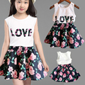 New Fashion Cute Baby Girls Clothes Set Summer Sleeveless T-Shirt Top and Floral Bottom Little Girls Outfit Set High Qual