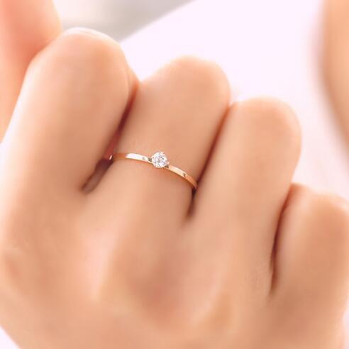 Женское кольцо из нержавеющей стали Martick, розовое золото 1 мм, серебряное кольцо высшего качества с фианитом, полированные обручальные кольц...