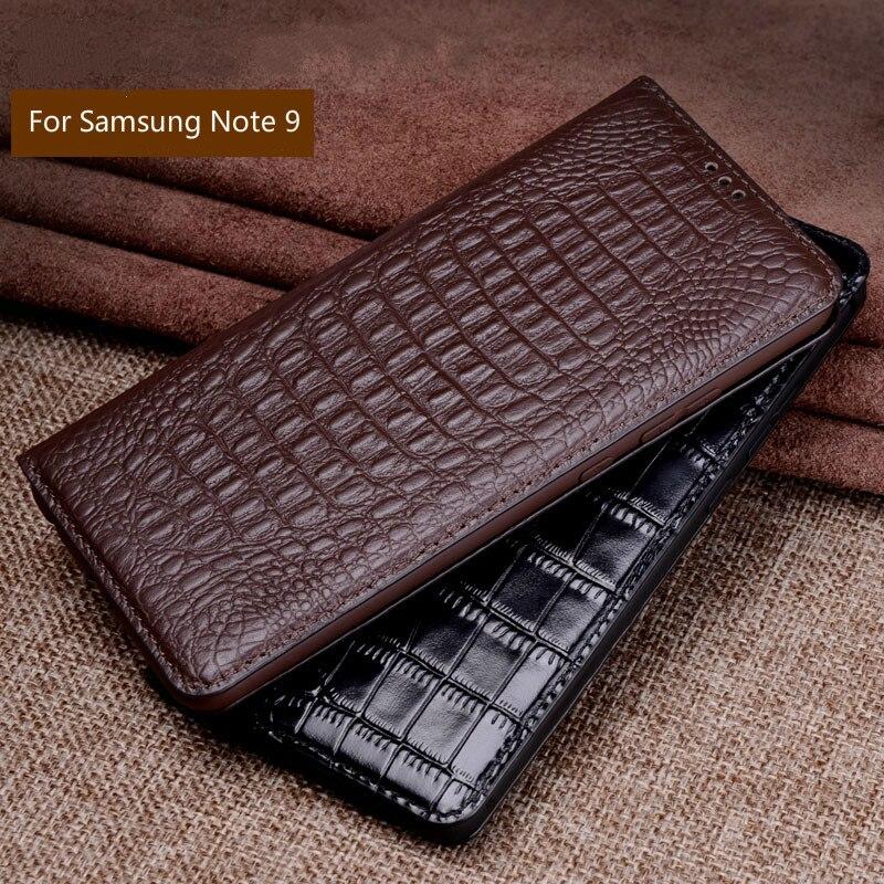 Luxe Véritable Crocodile En Cuir Téléphone Cas pour Samsung Galaxy Note 9 Cas Mode Téléphone Sacs pour Samsung Note 9 Cas