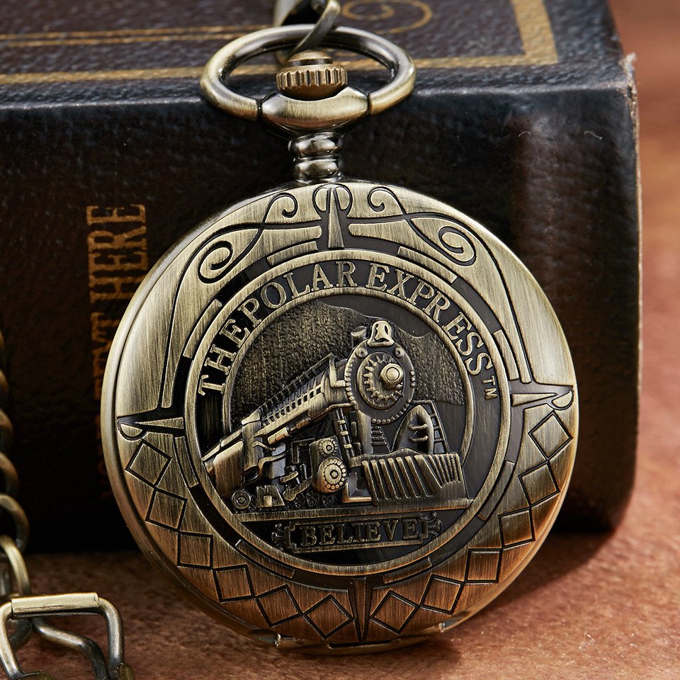 Bronze Retro Mechanical Pocket Watch The Polar Express Design Roman Numerals Hollow Skeleton Mens Mechanical Pocket Watch Chain