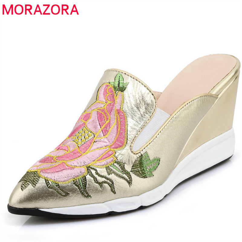 MORAZORA 2020 hot sale women sandals pointed toe fashion ladies shoes slip on genuine leather shoes classic wedges shoes woman-in High Heels from Shoes    1