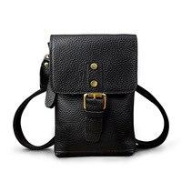 2018 new Men's Fashion Genuine Leather Waist Bags phone bag Multi Saddle bag Crazy Horse Bag for Men