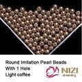 Resina Rodada Beads Com Furo Cor Café Claro 6mm 8mm 10mm Imitação Artesanato de Costura Pérolas Para Jóias fazer Acessórios