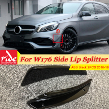 For MercedesMB W176 Bumper Side Lip Splitter 2PCS ABS black A-Class A180 A200 A250 A45 Look Side Lip Splitters body kits 2016-18 цена