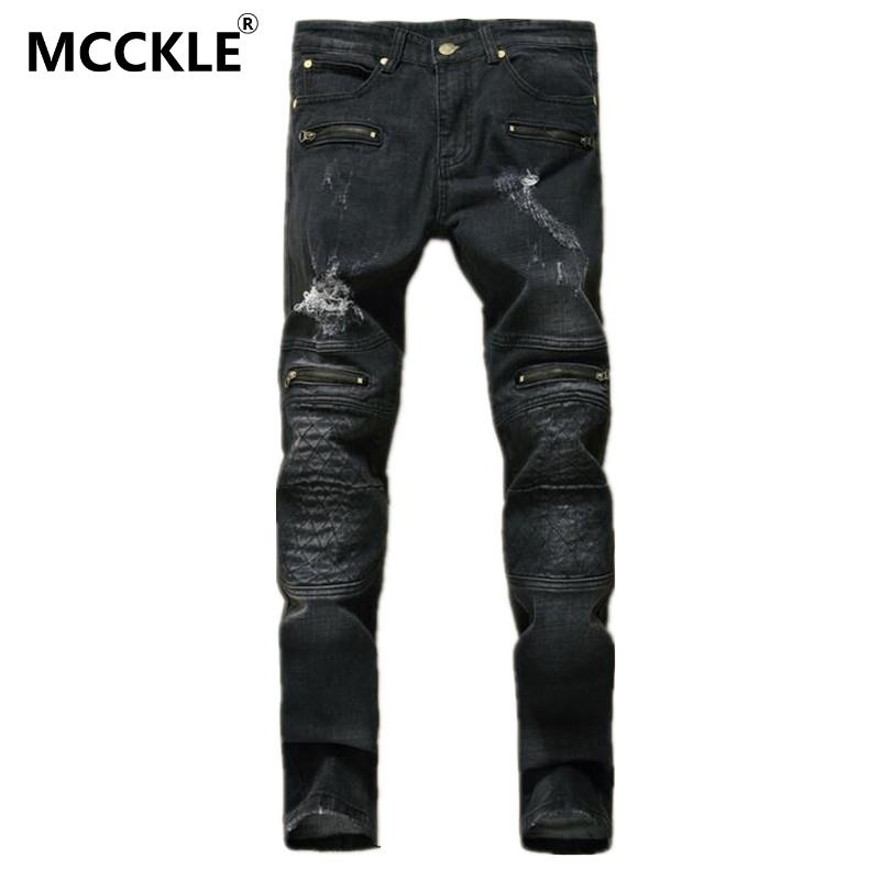 ФОТО MCCKLE Designer Mens Black Ripped Jeans Pants Multi Zipper Distressed Denim Joggers Male Slim Fit Straight Old Jean Trousers
