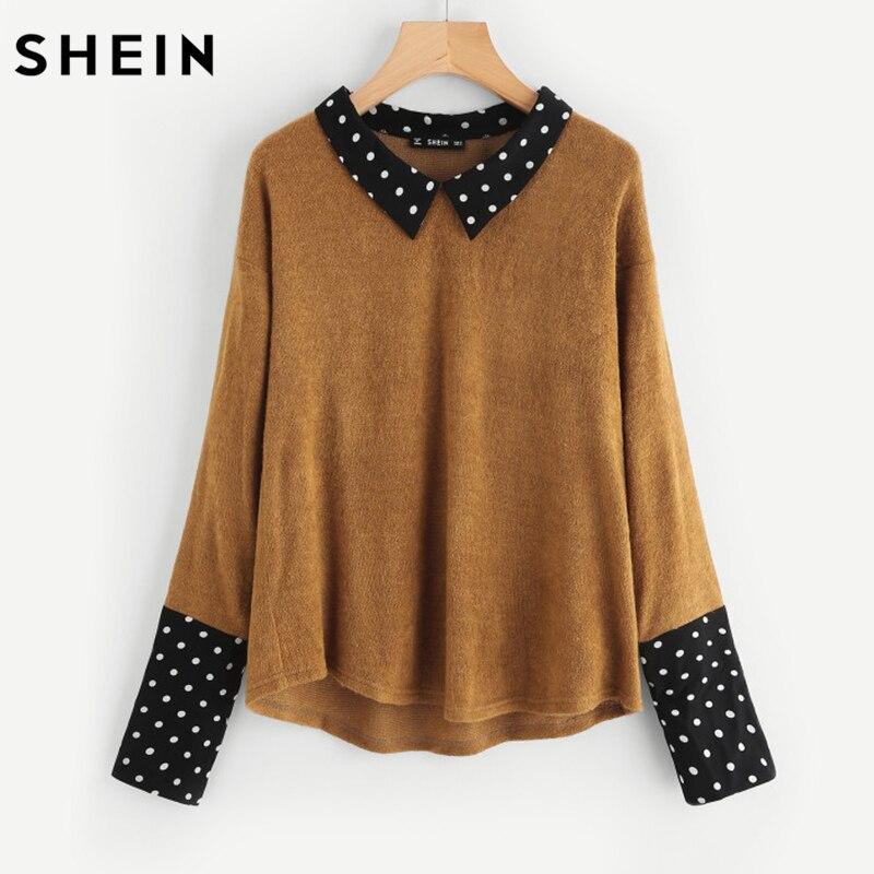SHEIN Contrast Polka Dot Collar and Cuff Tee Brown Womens Long