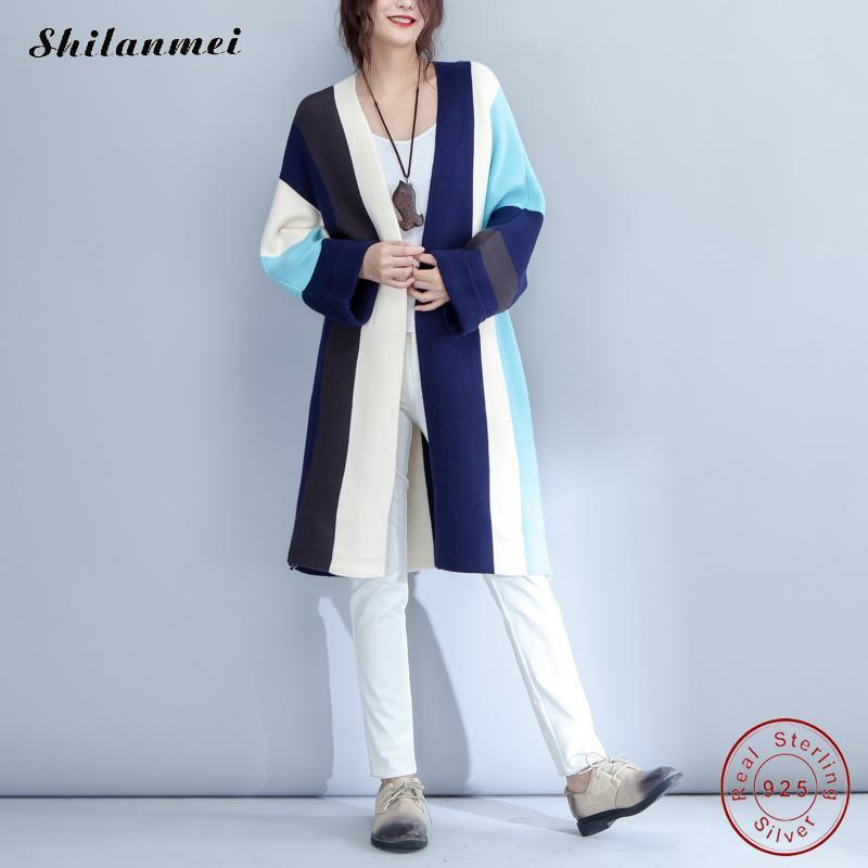 stripe Women Cardigan Autumn Long Sleeve Irregular Long Female Grey Thin Sweater Loose Ladies Coat Slim Elegant Outerwear