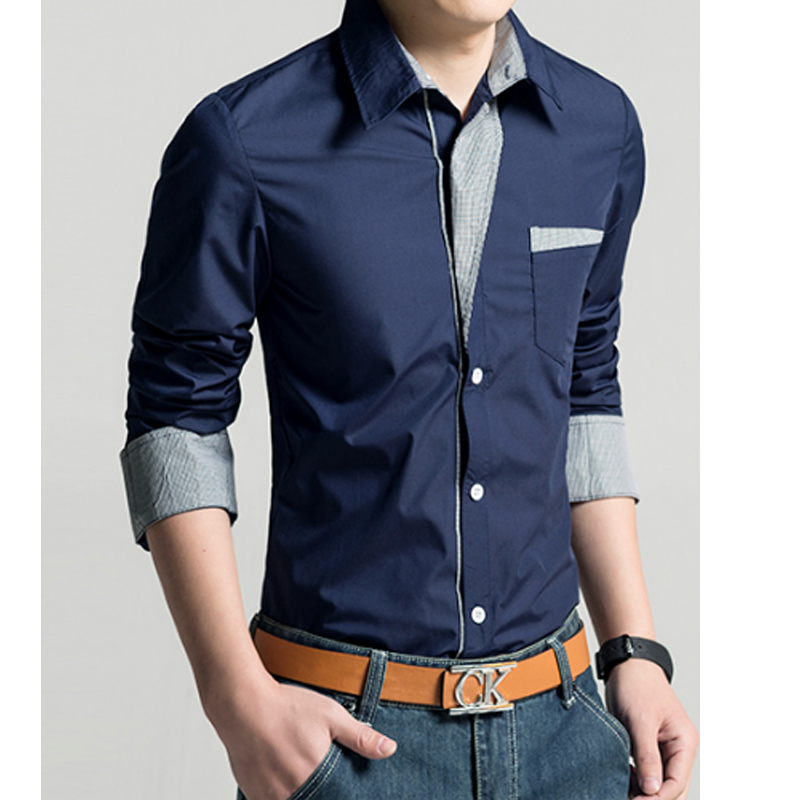 2017 Spring New Men'S Long-Sleeved Dress Shirt Placket Continental Solid, Quality Men'S Casual Slim Lapel Large Size M ~ XXXXL
