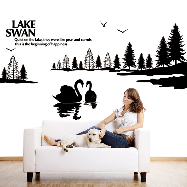 Large Trees Can Be Customized Swan Lake Wall Stickers Shop Window Glass  Facade Bedroom Sofa TV Part 64