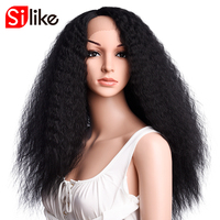 Silike Kinky Straight Synthetic Wig I Part Lace Front Wig Kanekalon Heat Resistant Hair 24 Inch Wigs For Black Women