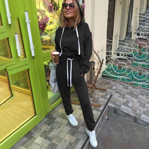 2pcs Sets Casual Hooded Tops Sweatshirt+Solid Long Pants Suits Women Sets Female Tracksuits Women Clothing Bigsweety Lahore