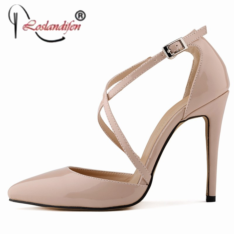 ФОТО Thin High Heels Women Pumps Pointed Toe Patent Leather Thin Black Nude Sexy Women Ladies 11CM Shoes