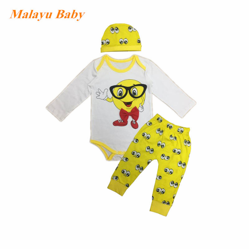 2017 3PCS Rompers+Hat+Pants Baby Boys Girls Clothing Set Cotton Cute Cartoon Small yellow people print Toddler Jumpsuit Infant 2 pcs lot newborn baby girls clothing set cute pink cotton baby rompers boys jumpsuit roupas de infantil overalls coveralls