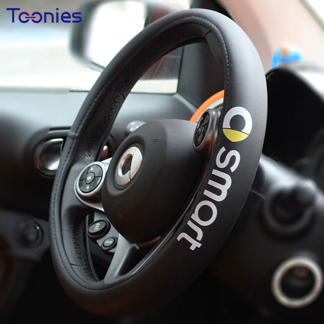 Smart Fortwo Forfour Logo Steering Wheel Faux Leather Braid Cover Car Covers