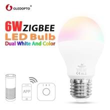 GLEDOPTO LED 6W RGB+CCT led bulb Zigbee smartLED bulb e26e27 AC100-240V WW/CW  rgb led bulb dimmable light dual white and color
