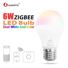 GLEDOPTO LED 6W RGB+CCT led bulb Zigbee zll zigbee3.0 bulb e26e27 AC100-240V WW/CW rgb led bulb dimmable smart bulb dual white(China)