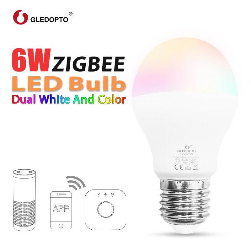 Gledopto led 6 w rgb + cct lâmpada led zigbee smartled lâmpada e26e27 AC100-240V ww/cw rgb led pode ser escurecido luz dupla branco e cor
