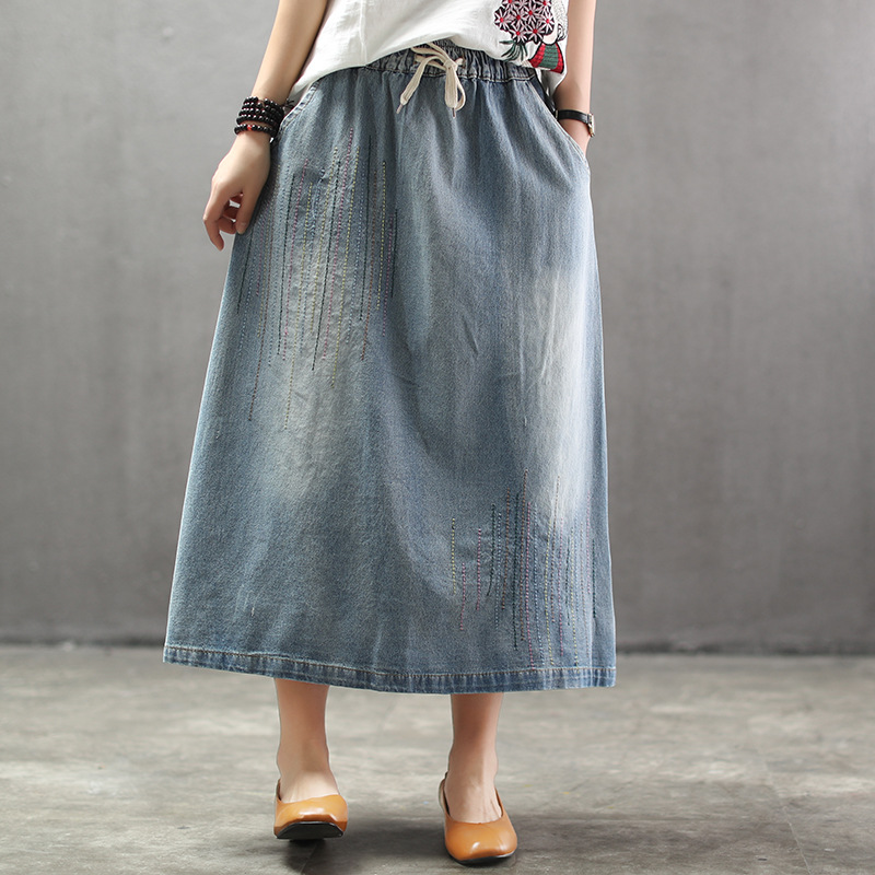 New women skirt long girl retro white washing grinding threads run bar female elastic waist jean skirts big yards contracted