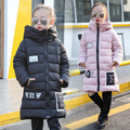 Inverno Quente acolchoado-Algodão Brasão Roupas Crianças Meninas Criança Grosso Casaco Longo Casaco Crianças Roupas Rosa Preto Azul
