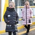 Winter Warm Cotton-padded Clothes Coat Girls Children Child Thick Jacket Long Jacket Kids Clothing Black Pink Blue