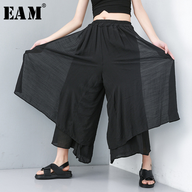 [EAM] 2019 New Spring Summer High Elastic Waist Loose Wide Leg Long Split Joint False Two Pants Women Trousers Fashion JU664
