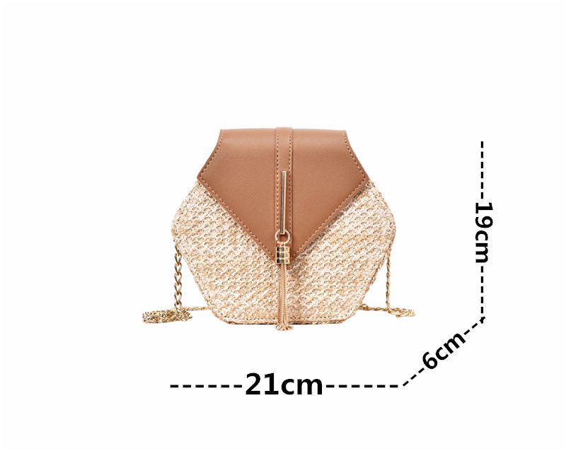Hexagon Mulit Style Straw+leather Handbag Women Summer Rattan Bag Handmade Woven Beach Circle Bohemia Shoulder Bag New Fashion 27