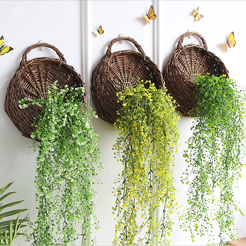 Natural WickerContainer Home Garden Wall Hanging Decor ... on Decorative Wall Sconces For Flowers Hanging Baskets Delivery id=48776