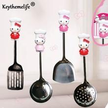 Keythemelife Kitchenware Hello Kitty Stainless Steel Spatula Spoon Colander Kitchen Tools Utensils C0