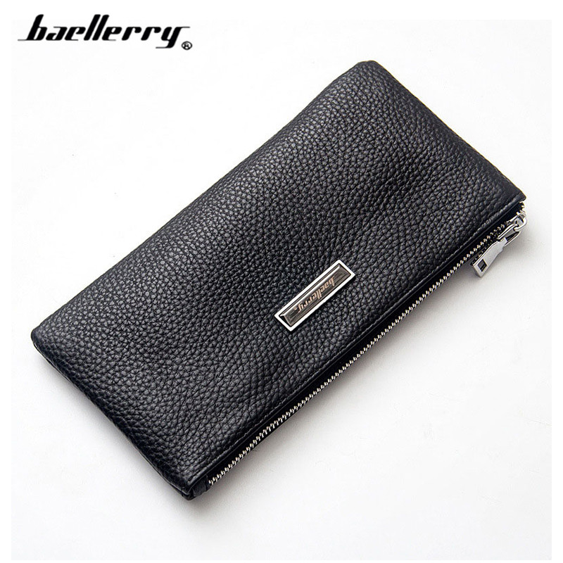 Casual Clutch Wallet Male Zipper Solid Genuine Leather Long Wallets Credit Card Phone Pocket Big Capacity Men's Purses