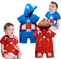 Capitão américa homem de ferro menino roupas infantis da criança do bebê de algodão curto sleve com capuz super homem macacão bebe homem de ferro