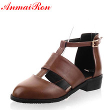 ANMAIRON Black Hot Sexy Med Summer Sandals Women T-Strap Square Heel  Brand Design Less Platform Shoes Large Size 34-47